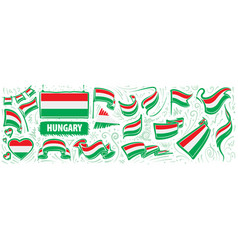 set national flag hungary in vector image