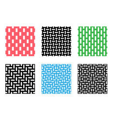 set of seamless pixel pattern on white vector image