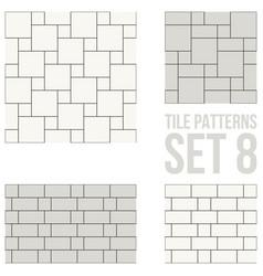 Set thin line seamless pattern brick tile vector