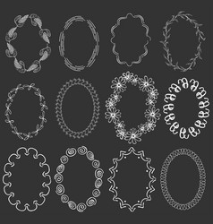 Set with oval white frames on the dark background vector