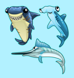 shark hammerhead and swordfish on blue background vector image