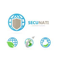 Shield and planet logo combination vector