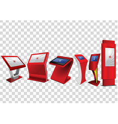 Six red promotional interactive information kiosk vector