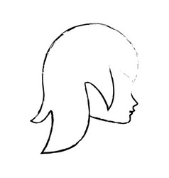 Sketch head woman female icon vector