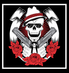 Skull mafiagangster wearing bandana with gun an vector