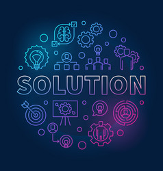 solution round outline colored vector image