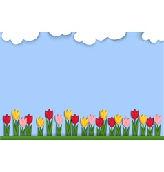 Spring background decorated with paper tulips vector image