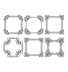 square asian retro frames set vector image vector image