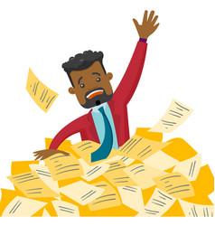 Stressed businessman sinking in the heap of papers vector