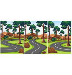 three scenes of park with empty roads vector image