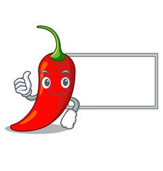 Thumbs up with board cartoon red hot natural chili vector