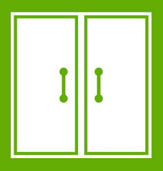 Two glass doors icon green vector