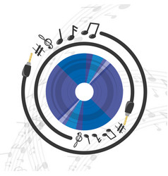 Vinyl record with musical notes vector