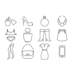 Womens accessories and clothes line icons set vector