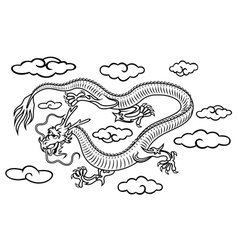 Chinese dragon in clouds vector image