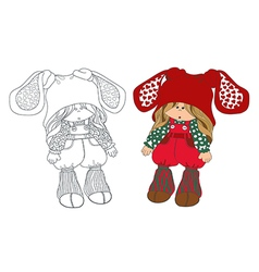 cute little girl in hat coloring vector image