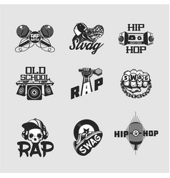 hip-hop music signs set rap party collection of vector image
