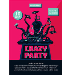 music party poster with octopus dj and mixing vector image vector image