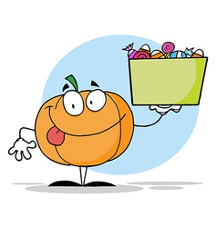 Pumpkin Holding Up A Tub Of Candy vector image vector image