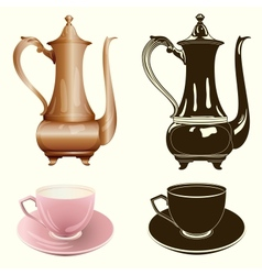 tea set antique tea pot and cup in color and vector image