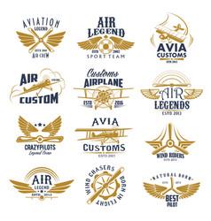 Aviation airplane legend team retro icons vector