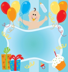 baby boy birthday invitation vector image