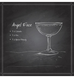 coctail angel face on black board vector image vector image