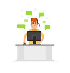 customer service representative wearing a headset vector image