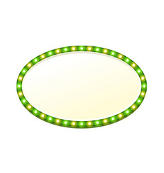 green blank 3d oval retro light banner with lights vector image