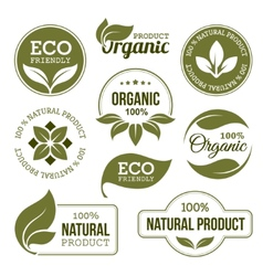 Green Organic Products Labels vector image