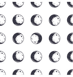 moon seamless pattern monochrome vintage hand vector image
