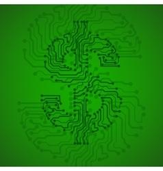 Symbol of dollar Circuit board vector image