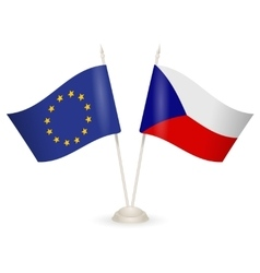 Table stand with flags of Czech Republic and US vector image vector image