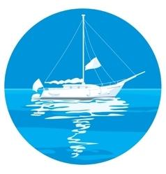 White sailing ship yachts vector