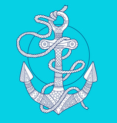 anchor and rope fashion vector image vector image