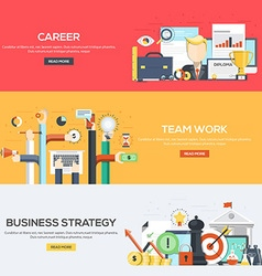 Flat designed banners Career Team work Strategy vector image vector image