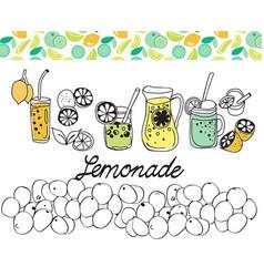 hand drawn set of lemonade on white background vector image