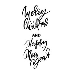 handdrawn merry christmas card happy new year vector image vector image