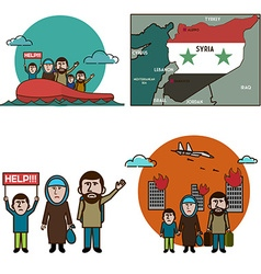 Refugees infographic elements vector image