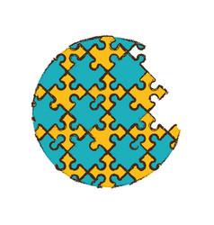 round puzzle pieces image vector image