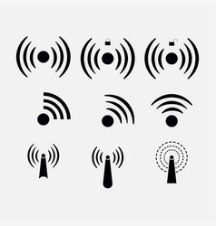 set icons wi-fi wireless network coverage vector image