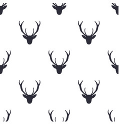 deer head pattern wild animal symbols seamless vector image