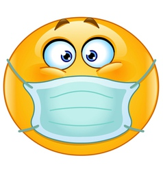 emoticon with medical mask vector image