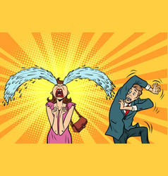 Whimsical weeping woman and funny fright men vector