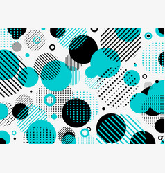 Abstract retro 80s-90s pattern blue and black vector