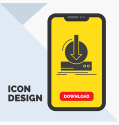 addition content dlc download game glyph icon in vector image