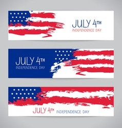 Banners with american flag vector image