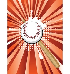 Baseball Ball on Background with Rays2 vector image