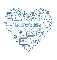 blogging concept heart blue linear vector image