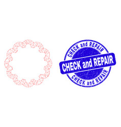 Blue scratched check and repair stamp and web vector